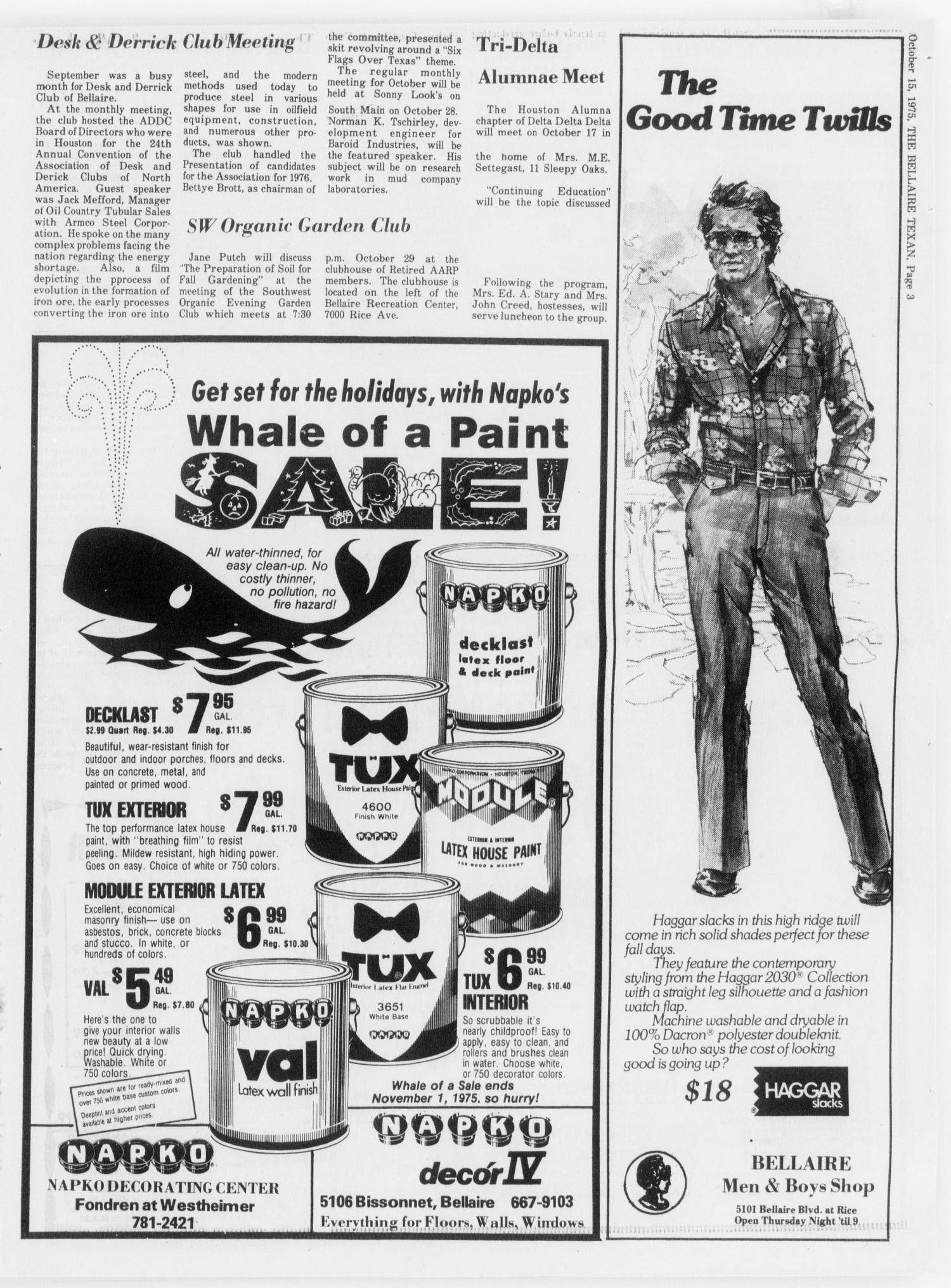 The Bellaire & Southwestern Texan (Bellaire, Tex.), Vol. 24, No. 24, Ed. 1 Wednesday, October 15, 1975                                                                                                      [Sequence #]: 3 of 28