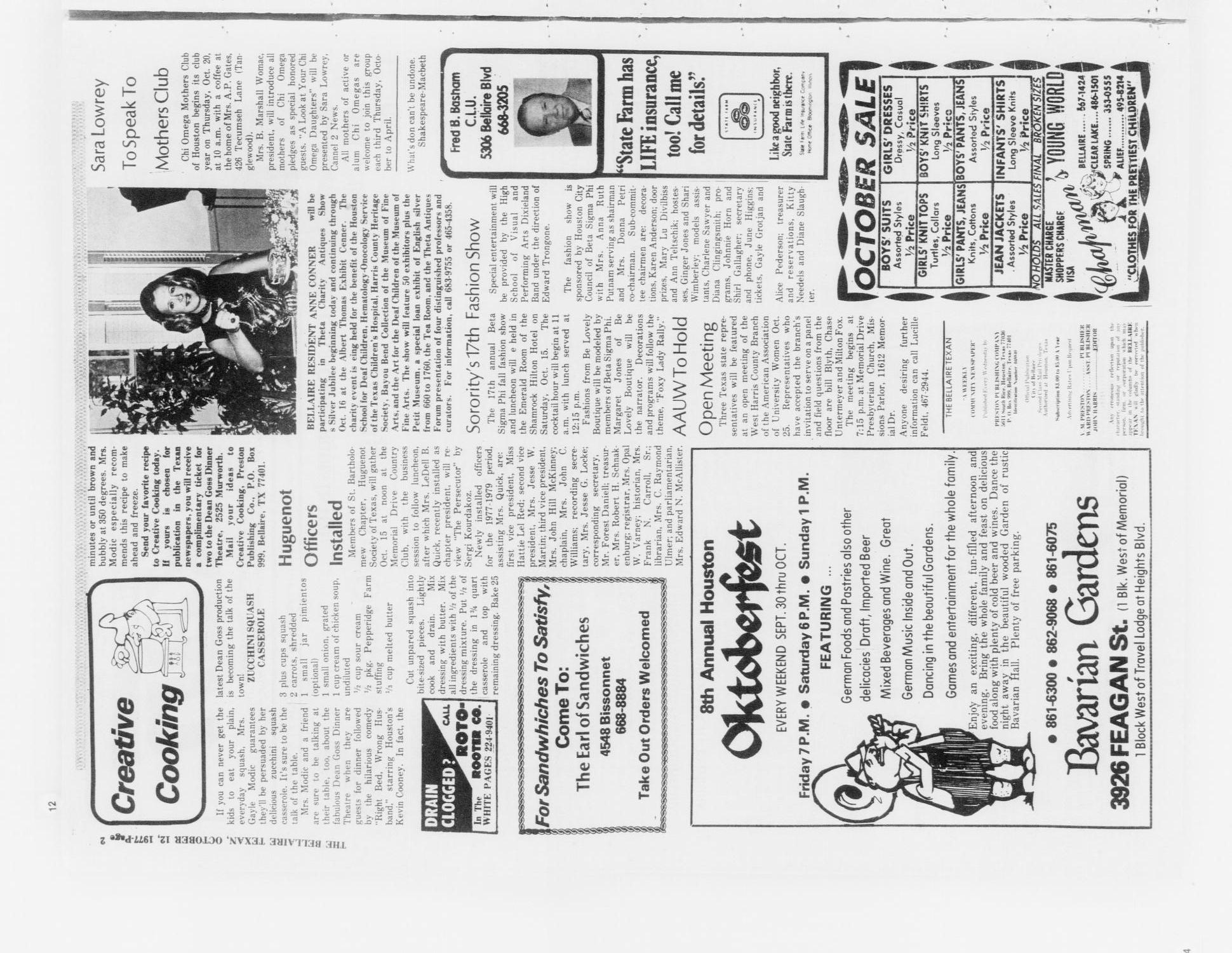 The Bellaire Texan (Bellaire, Tex.), Vol. 24, No. 23, Ed. 1 Wednesday, October 12, 1977                                                                                                      [Sequence #]: 2 of 32