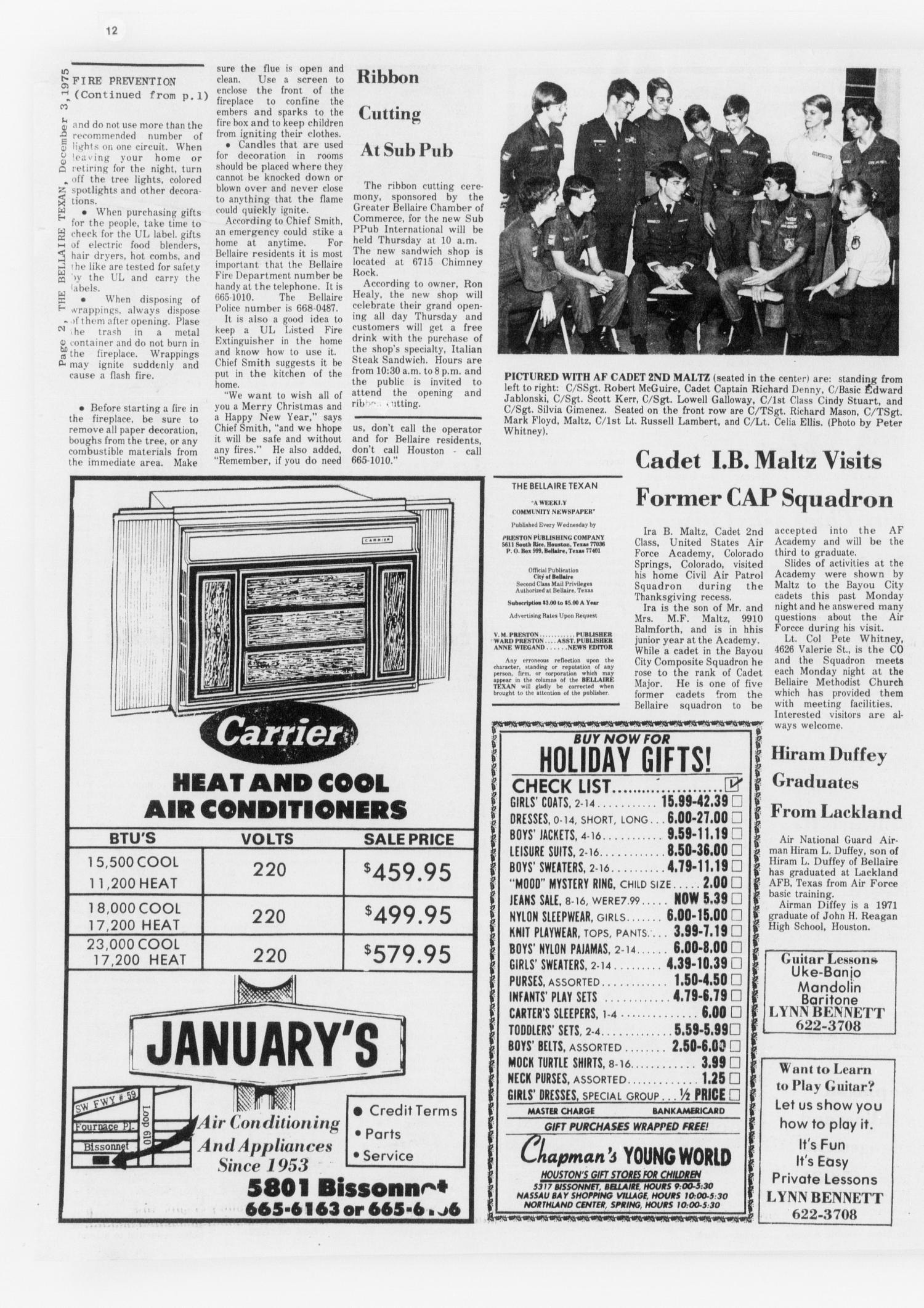 The Bellaire & Southwestern Texan (Bellaire, Tex.), Vol. 24, No. 31, Ed. 1 Wednesday, December 3, 1975                                                                                                      [Sequence #]: 2 of 30