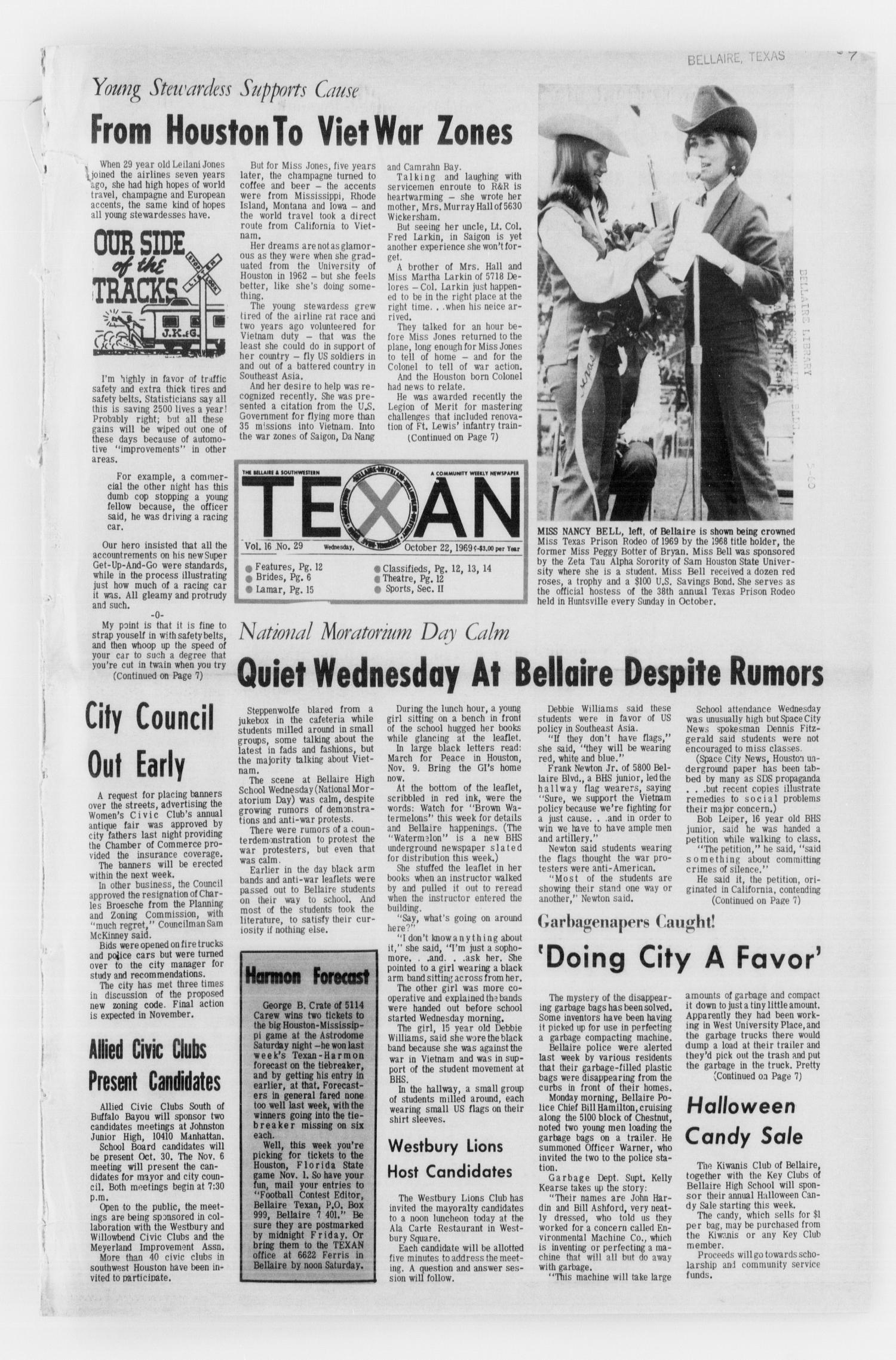 The Bellaire & Southwestern Texan (Bellaire, Tex.), No. 29, Ed. 1 Wednesday, October 22, 1969                                                                                                      [Sequence #]: 1 of 36