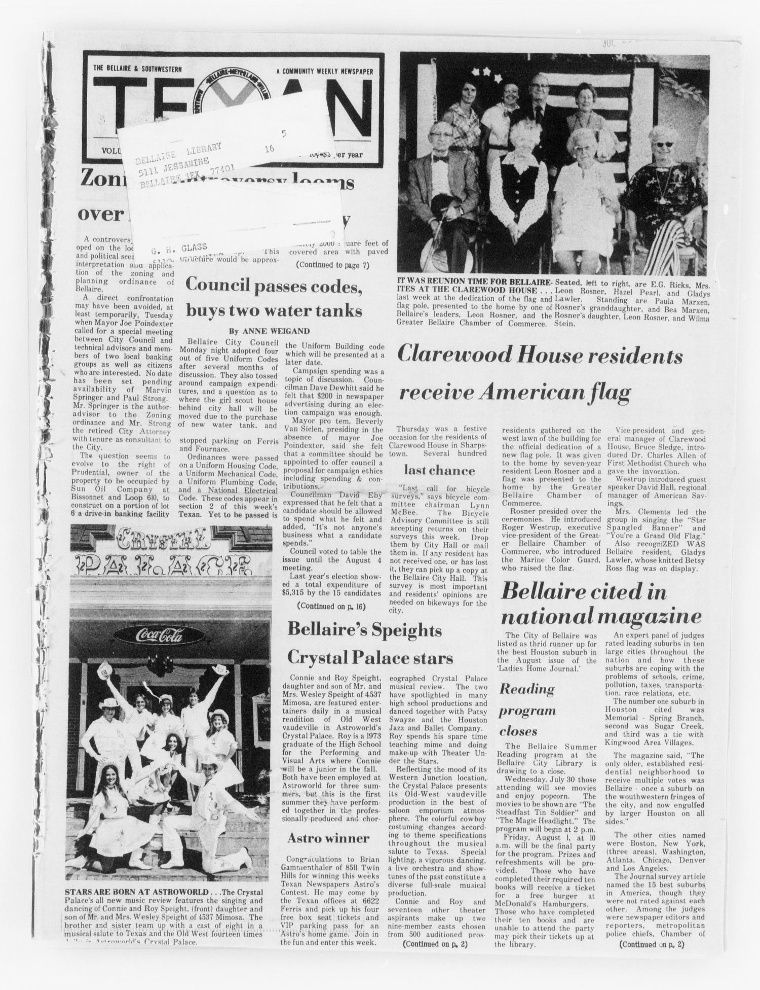 The Bellaire & Southwestern Texan (Bellaire, Tex.), Vol. 24, No. 12, Ed. 1 Wednesday, July 23, 1975                                                                                                      [Sequence #]: 1 of 24