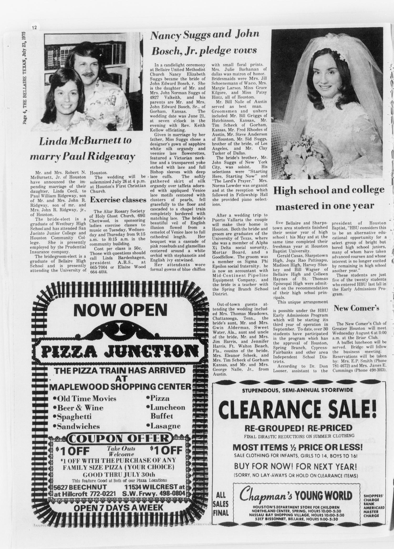 The Bellaire & Southwestern Texan (Bellaire, Tex.), Vol. 24, No. 12, Ed. 1 Wednesday, July 23, 1975                                                                                                      [Sequence #]: 4 of 24