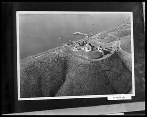 Primary view of object titled 'Aerial View of Coast, Church, and Pier'.