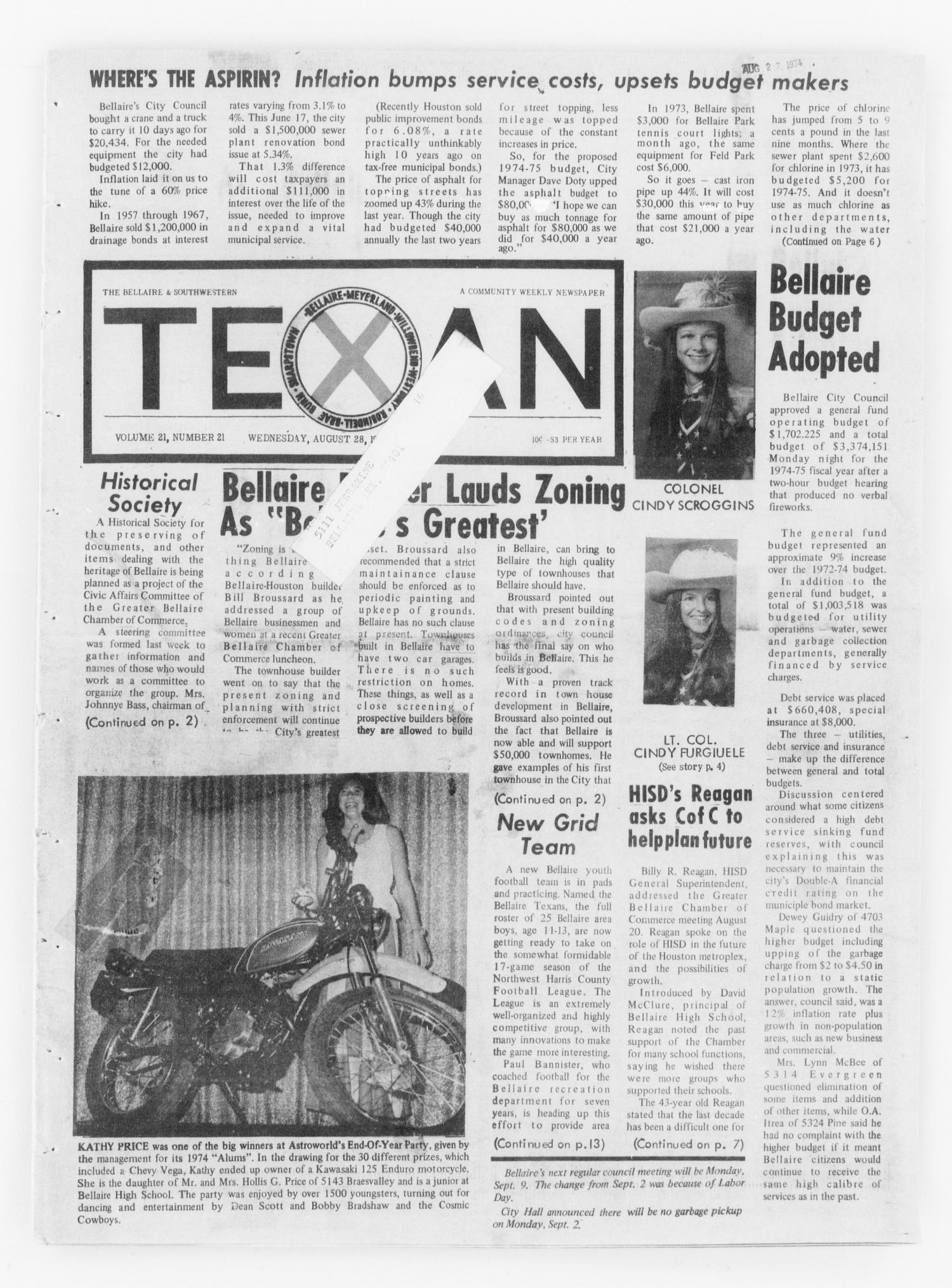 The Bellaire & Southwestern Texan (Bellaire, Tex.), Vol. 21, No. 21, Ed. 1 Wednesday, August 28, 1974                                                                                                      [Sequence #]: 1 of 24
