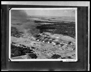Primary view of object titled 'Aerial View of Military Base on Fire'.