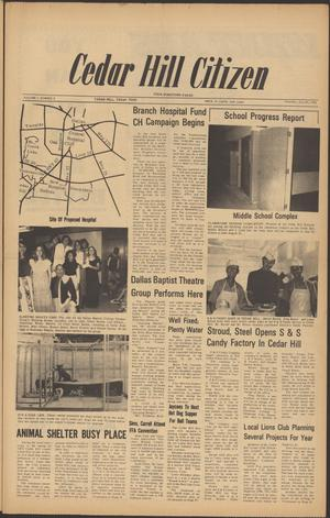 Primary view of object titled 'Cedar Hill Citizen (Cedar Hill, Tex.), Vol. 1, No. 2, Ed. 1 Thursday, July 20, 1972'.