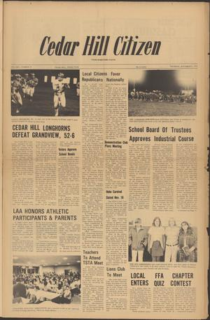 Primary view of object titled 'Cedar Hill Citizen (Cedar Hill, Tex.), Vol. 1, No. 18, Ed. 1 Thursday, November 9, 1972'.