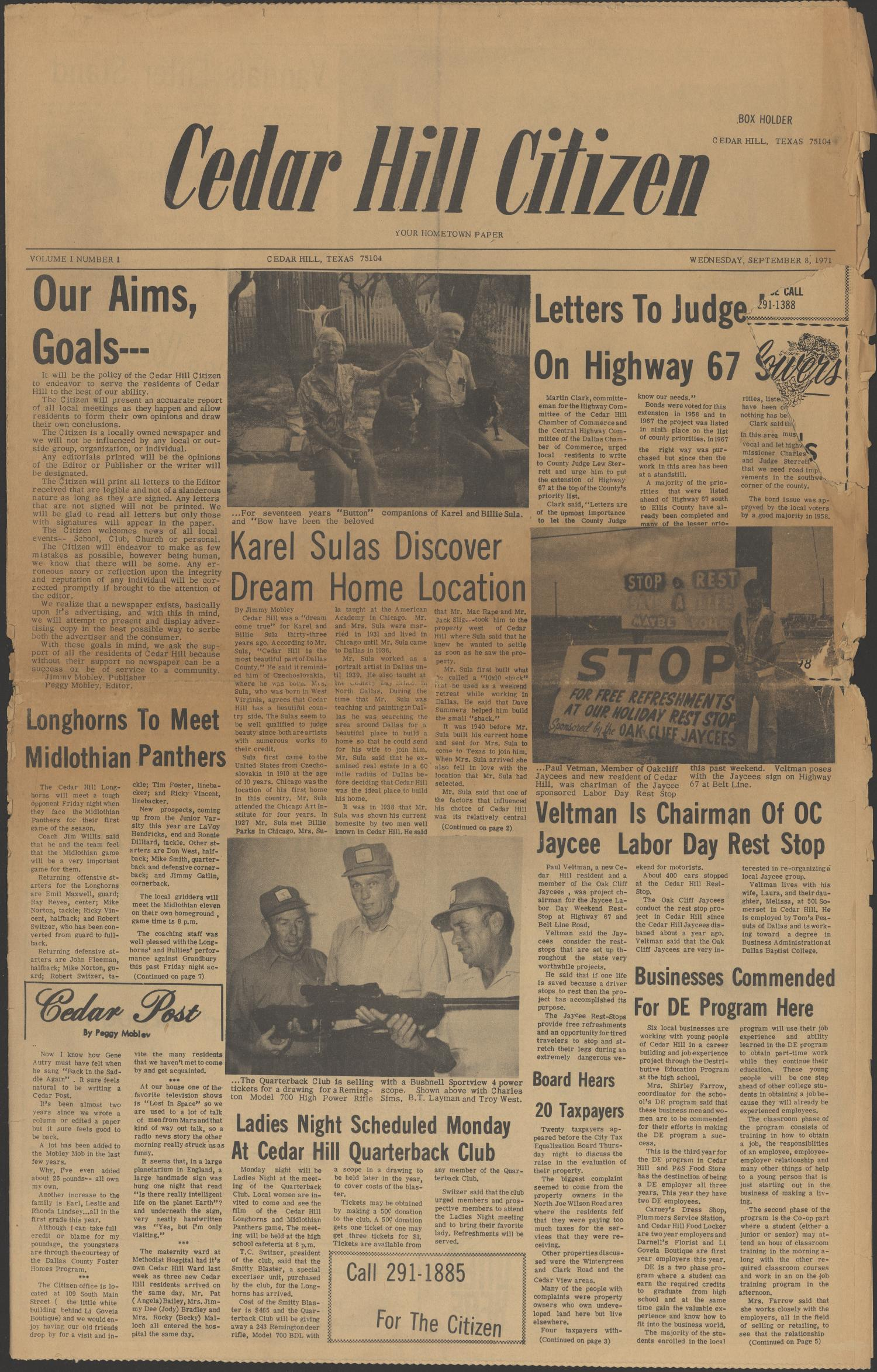 Cedar Hill Citizen (Cedar Hill, Tex.), Vol. 1, No. 1, Ed. 1 Wednesday, September 8, 1971                                                                                                      [Sequence #]: 1 of 8