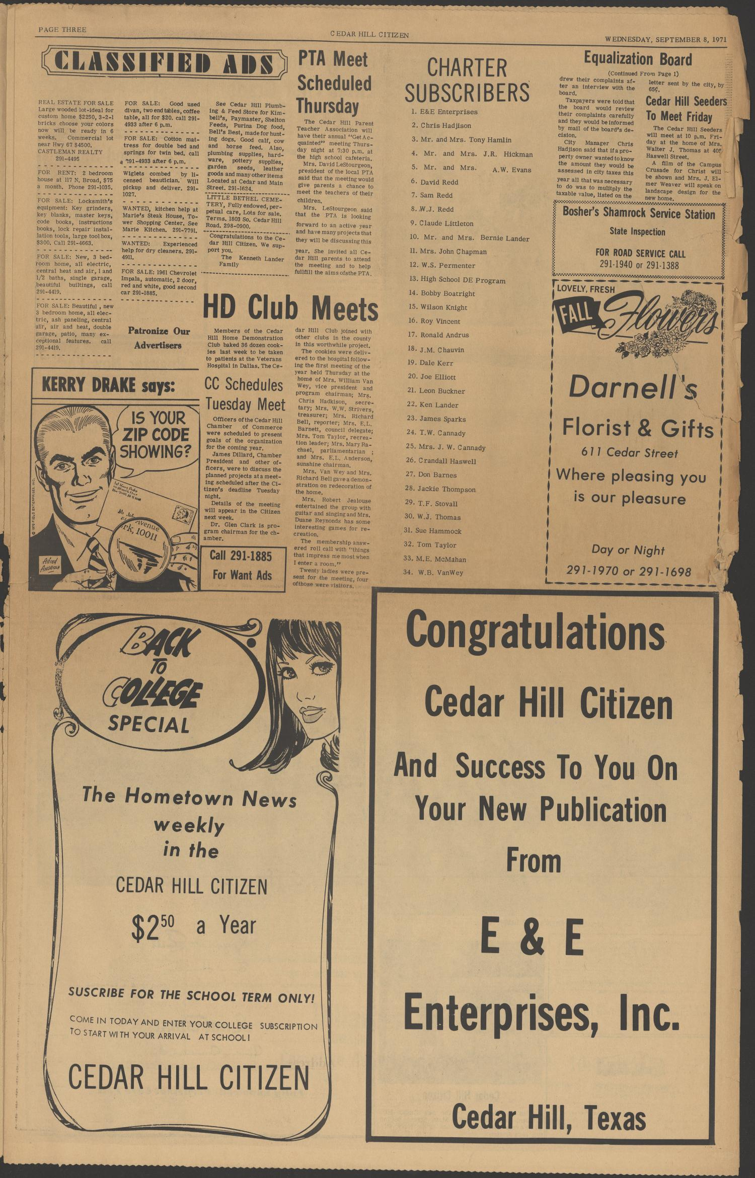Cedar Hill Citizen (Cedar Hill, Tex.), Vol. 1, No. 1, Ed. 1 Wednesday, September 8, 1971                                                                                                      [Sequence #]: 3 of 8