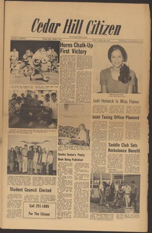 Primary view of object titled 'Cedar Hill Citizen (Cedar Hill, Tex.), Vol. 1, No. 3, Ed. 1 Wednesday, September 22, 1971'.