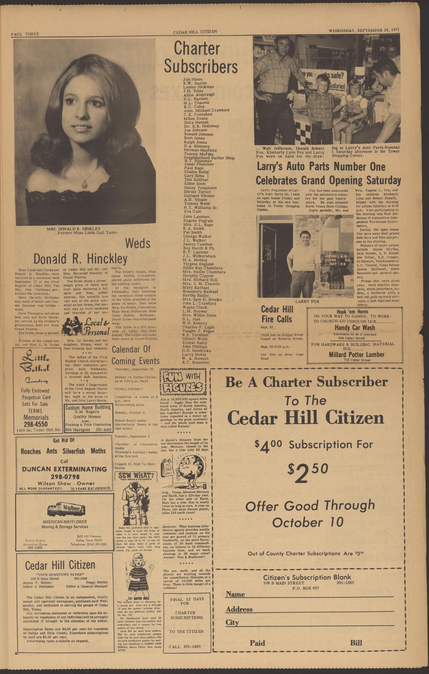 Cedar Hill Citizen (Cedar Hill, Tex.), Vol. 1, No. 4, Ed. 1 Wednesday, September 29, 1971                                                                                                      [Sequence #]: 3 of 6
