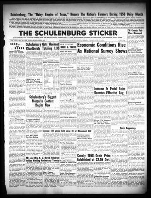 The Schulenburg Sticker (Schulenburg, Tex.), Vol. 64, No. 48, Ed. 1 Friday, June 27, 1958