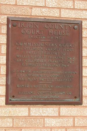 Primary view of object titled 'Irion County Courthouse, Mertzon, historic plaque'.