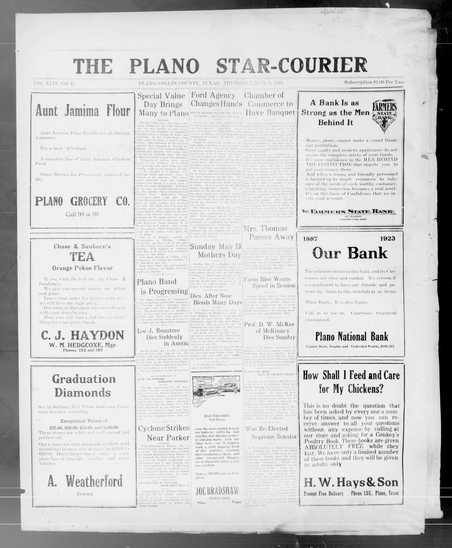 The Plano Star-Courier (Plano, Tex.), Vol. 44, No. 12, Ed. 1 Thursday, May 3, 1923                                                                                                      [Sequence #]: 1 of 6