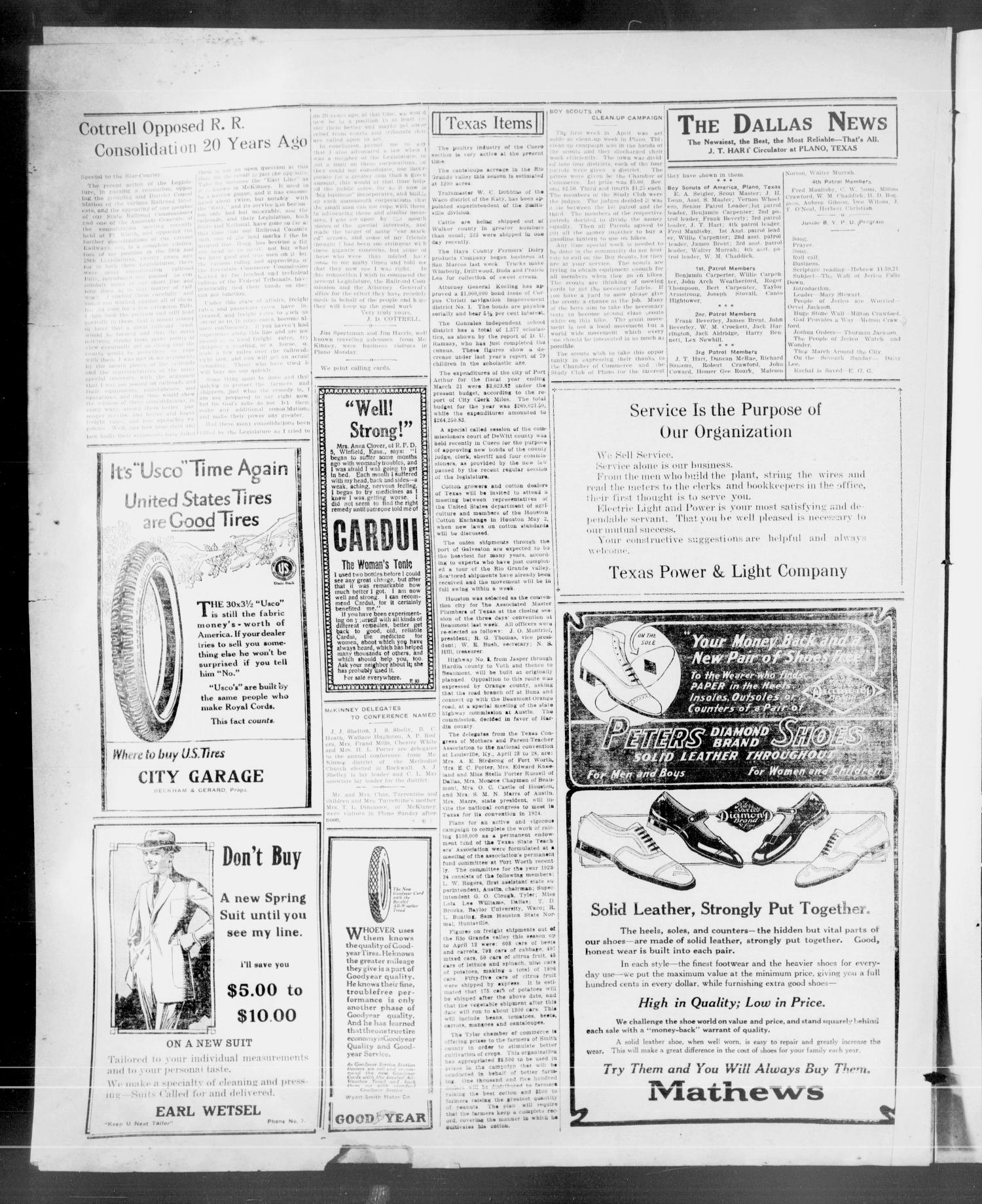 The Plano Star-Courier (Plano, Tex.), Vol. 44, No. 12, Ed. 1 Thursday, May 3, 1923                                                                                                      [Sequence #]: 4 of 6