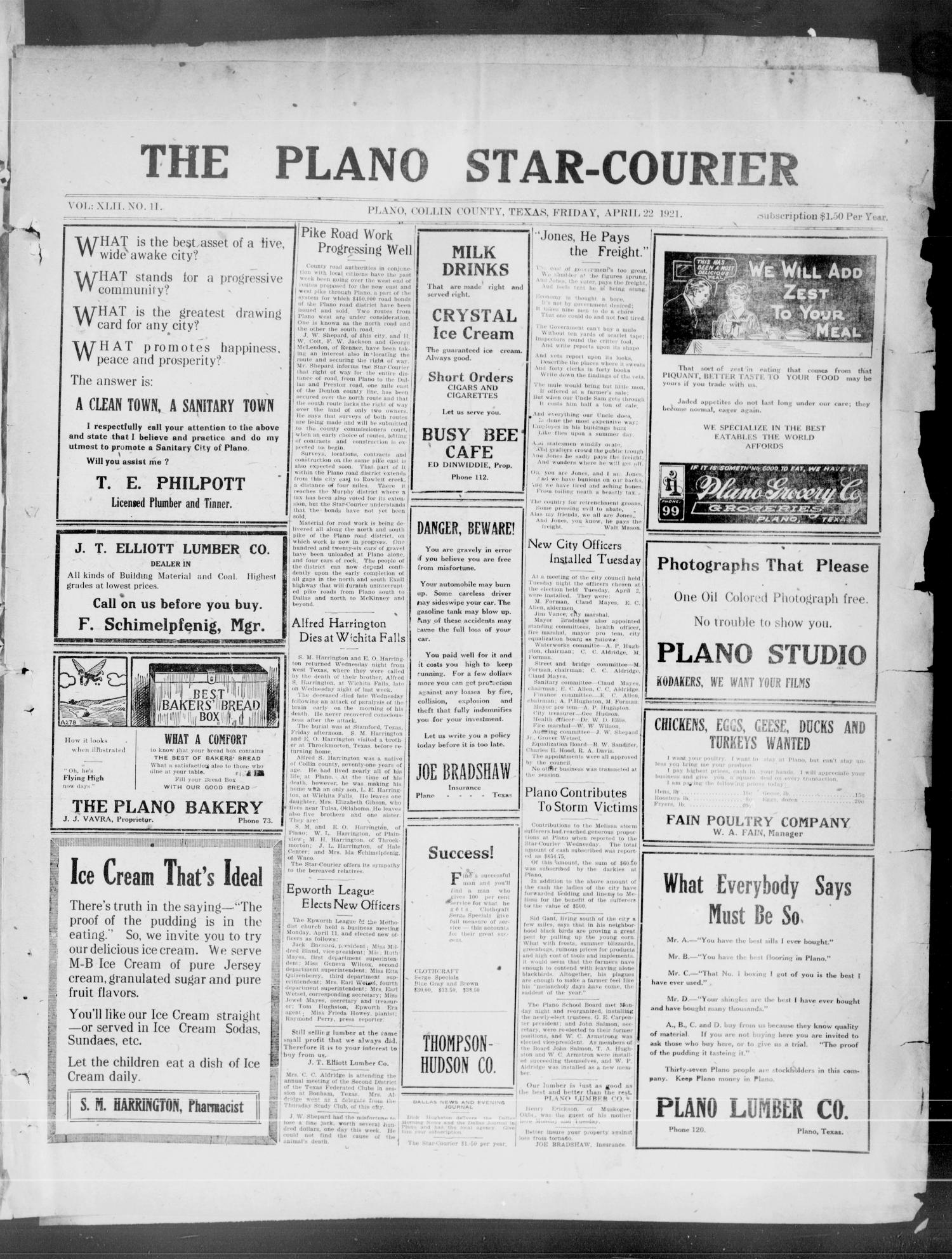 The Plano Star-Courier (Plano, Tex.), Vol. 42, No. 11, Ed. 1 Friday, April 22, 1921                                                                                                      [Sequence #]: 1 of 8