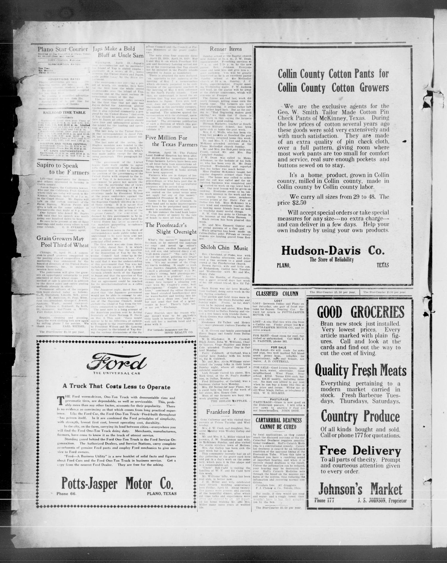 The Plano Star-Courier (Plano, Tex.), Vol. 42, No. 11, Ed. 1 Friday, April 22, 1921                                                                                                      [Sequence #]: 2 of 8