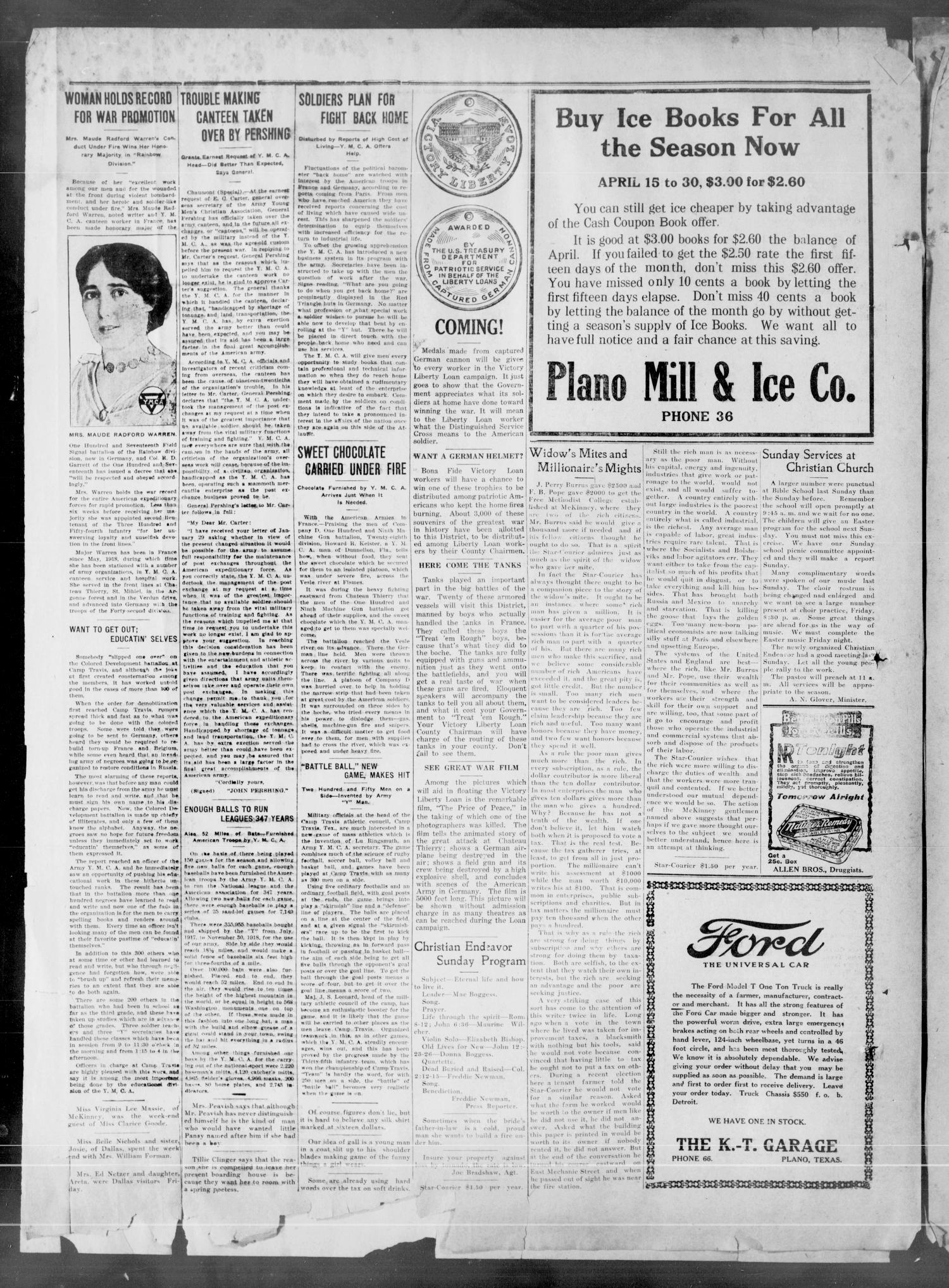 The Plano Star-Courier (Plano, Tex.), Vol. 40, No. 10, Ed. 1 Friday, April 18, 1919                                                                                                      [Sequence #]: 4 of 14