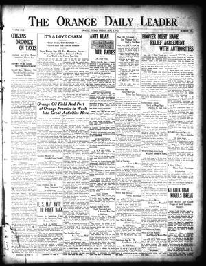 Primary view of object titled 'The Orange Daily Leader (Orange, Tex.), Vol. 17, No. 186, Ed. 1 Friday, August 5, 1921'.