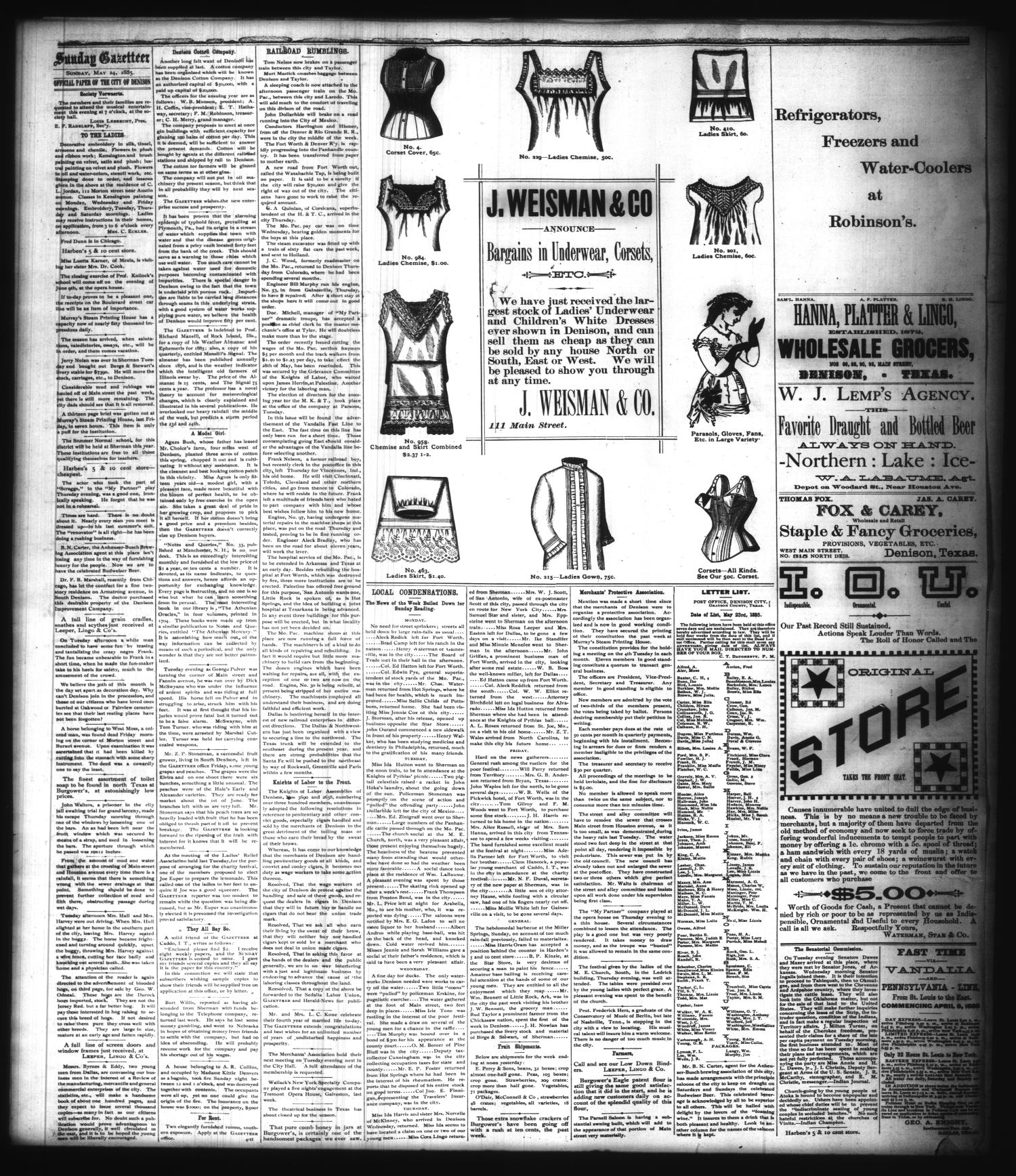 The Sunday Gazetteer. (Denison, Tex.), Vol. 4, No. 4, Ed. 1 Sunday, May 24, 1885                                                                                                      [Sequence #]: 4 of 4