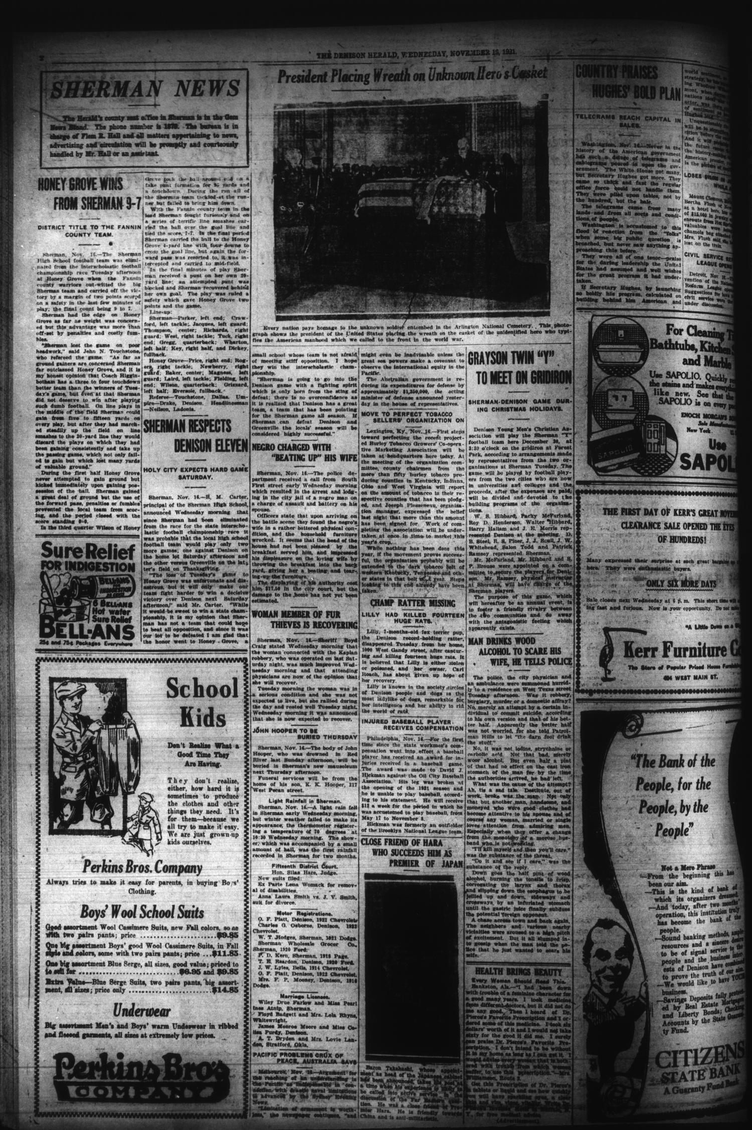 The Denison Herald (Denison, Tex.), No. 96, Ed. 1 Wednesday, November 16, 1921                                                                                                      [Sequence #]: 2 of 12