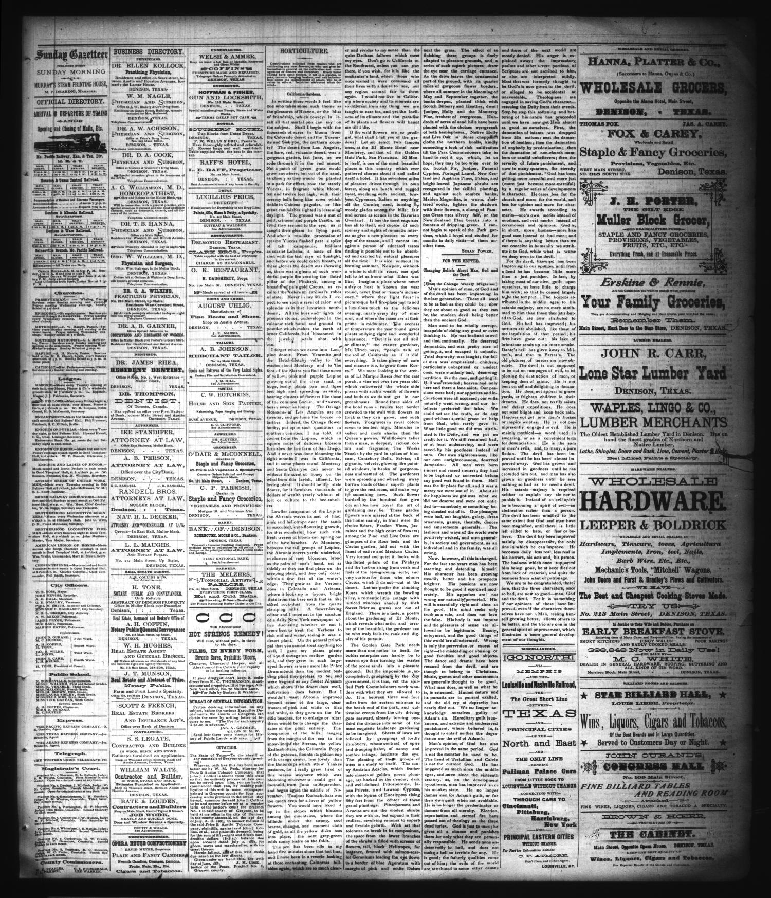 The Sunday Gazetteer. (Denison, Tex.), Vol. 1, No. 11, Ed. 1 Sunday, July 8, 1883                                                                                                      [Sequence #]: 3 of 4