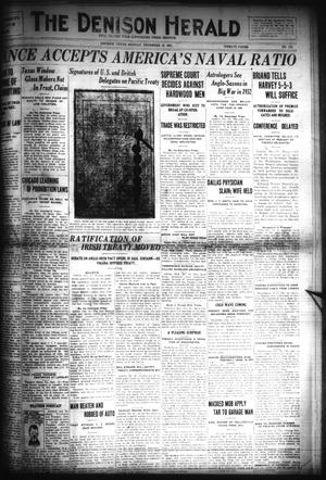 Primary view of object titled 'The Denison Herald (Denison, Tex.), No. 123, Ed. 1 Monday, December 19, 1921'.