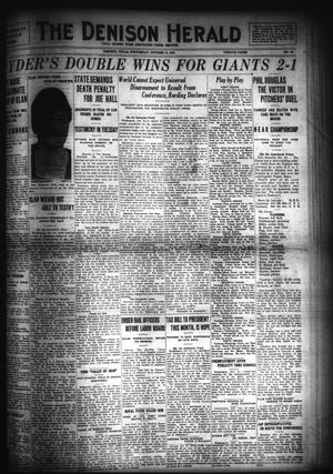 Primary view of object titled 'The Denison Herald (Denison, Tex.), No. 66, Ed. 1 Wednesday, October 12, 1921'.