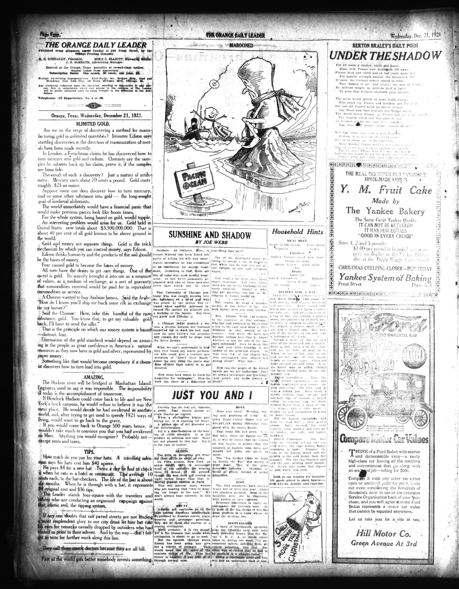 The Orange Daily Leader (Orange, Tex.), Vol. 12, No. 304, Ed. 1 Wednesday, December 21, 1921                                                                                                      [Sequence #]: 4 of 12