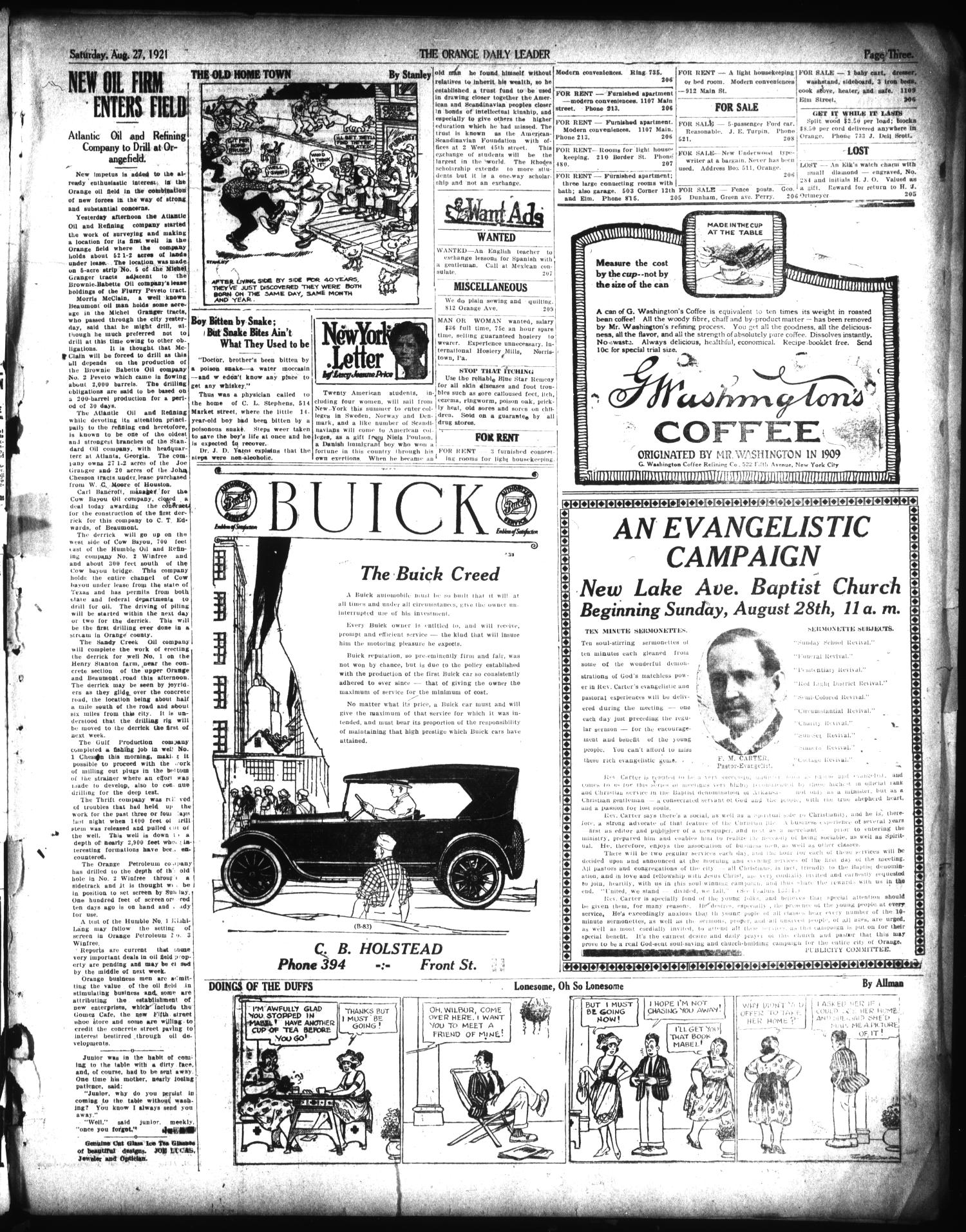 The Orange Daily Leader (Orange, Tex.), Vol. 17, No. 205, Ed. 1 Saturday, August 27, 1921                                                                                                      [Sequence #]: 3 of 4