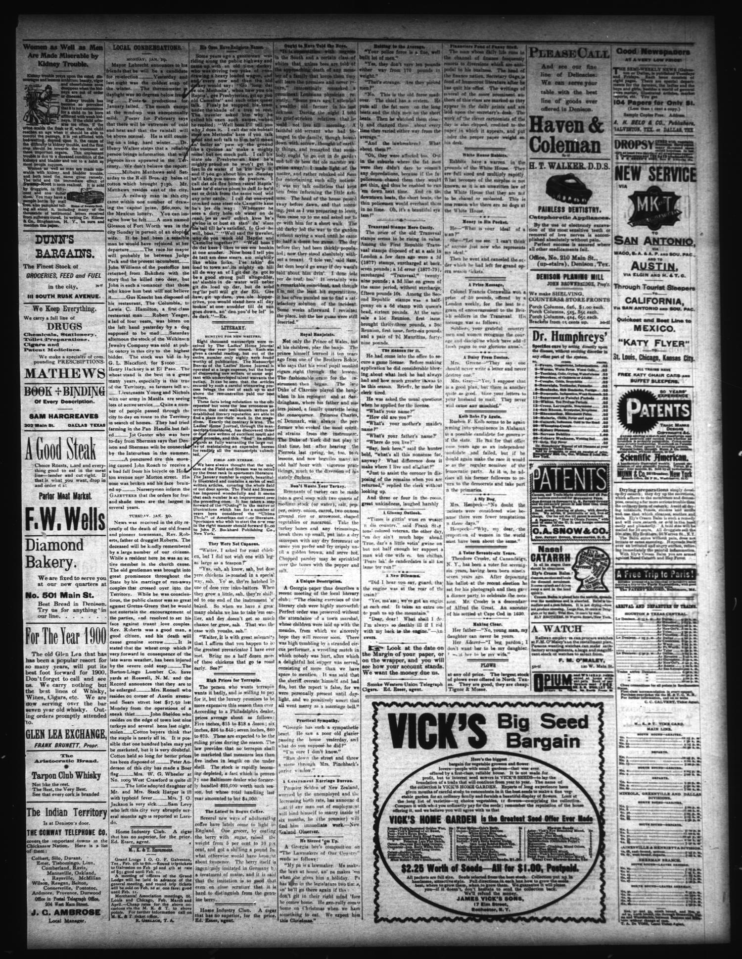 the sunday gazetteer denison tex vol 18 no 42 ed 1 sunday february 4 1900 page 3 of 4 the portal to texas history