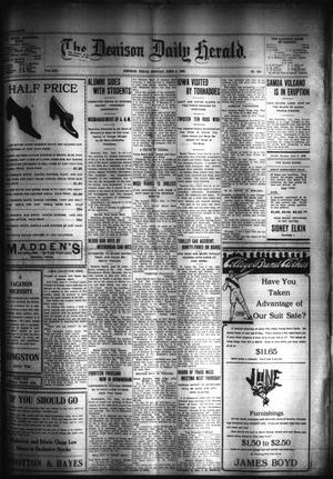 Primary view of object titled 'The Denison Daily Herald. (Denison, Tex.), Vol. 19, No. 280, Ed. 1 Monday, June 8, 1908'.