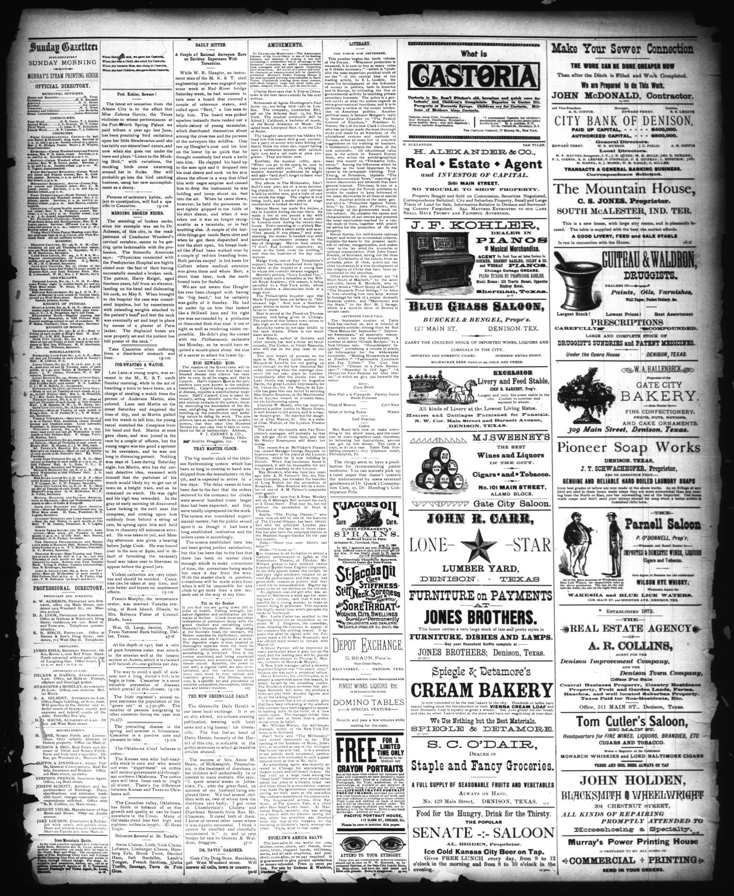 The Sunday Gazetteer Denison Tex Vol 9 No 20 Ed 1 Sunday