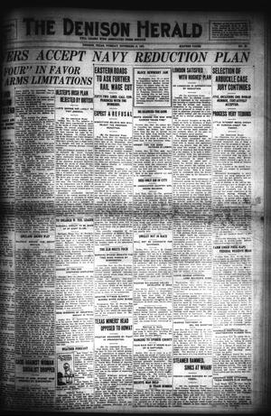 Primary view of object titled 'The Denison Herald (Denison, Tex.), No. 95, Ed. 1 Tuesday, November 15, 1921'.