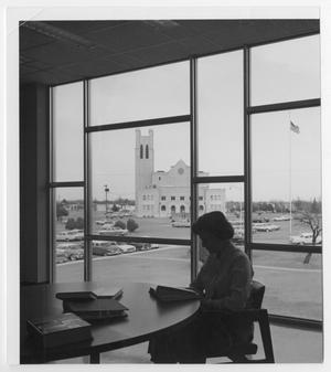 Primary view of object titled '[Photograph of Student Studying in Library]'.