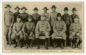 Primary view of object titled '[Postcard of Camp MacArthur Officers]'.