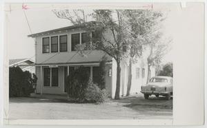 Primary view of object titled '[Photograph of Art Building with Car]'.