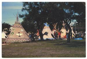 Primary view of object titled '[Postcard with McMurry University Teepees]'.