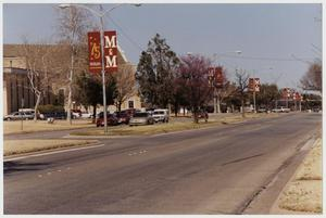Primary view of object titled '[Photograph of McMurry Campus from Sayles Boulevard]'.