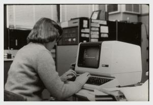 Primary view of object titled '[Photograph of Office Worker on Computer]'.