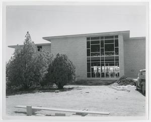 Primary view of object titled '[Photograph of Jay-Rollins Library Near Completion]'.