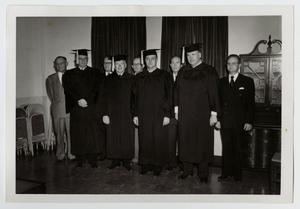 Primary view of object titled '[Photograph of Men in Caps and Gowns]'.