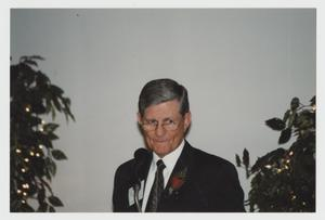 Primary view of object titled '[Photograph of Bynum Miers at Campus Center Consecration]'.