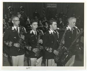 Primary view of object titled '[Photograph of Four McMurry University Saxophone Players]'.