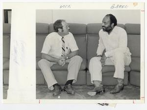 Primary view of object titled '[Photograph of Professors Chatting]'.