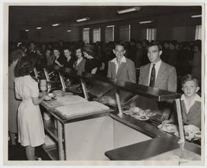 Primary view of object titled '[Photograph of Cafeteria Line on Opening Day of Iris Graham Memorial Dining Hall]'.