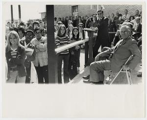 Primary view of object titled '[Photograph of Students Listening to Dr. Thomas Kim]'.