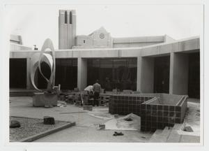 Primary view of object titled '[Finishing the Campus Center Courtyard]'.