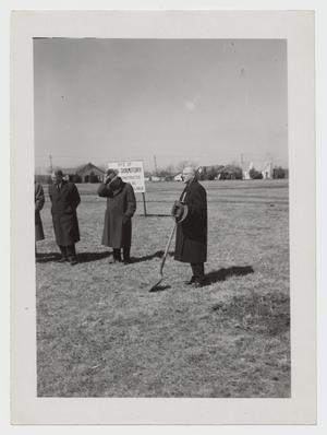 Primary view of object titled '[Photograph of Groundbreaking for Gold Star Dormitory]'.