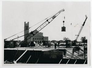 Primary view of object titled '[Construction of Jay-Rollins Library with Two Cranes]'.